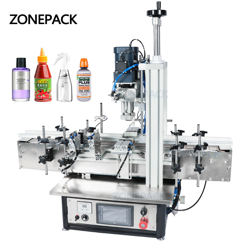 ZONEPACK Ropp Pump Pneumatic Vial Desktop Screw Automatic Capping Machines Glass Screw Perfume Pet Plastic Bottle