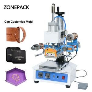 ZONEPACK ZY-819H Pneumatic Stamping Machine Leather Logo Creasing Machine Pressure Words Machine Logo Stampler Name Card Stamping