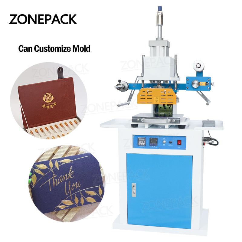 ZONEPACK ZY-819C 150x230mm Pneumatic Leather LOGO Embossing Creasing Machine Cosmetics Heat Press Hot Foil Stamping Machine