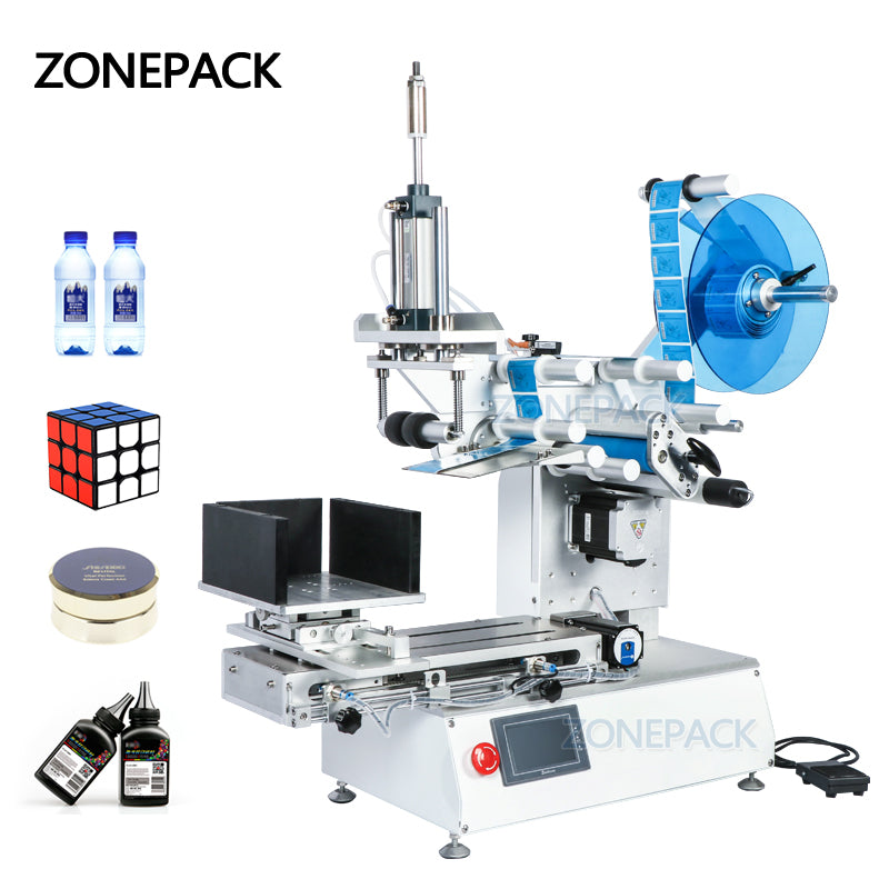 ZONEPACK XL-T803 Semi-automatic Model PET Plastic Model Arc Surface Flat Bottle Sticker Labeling Machine