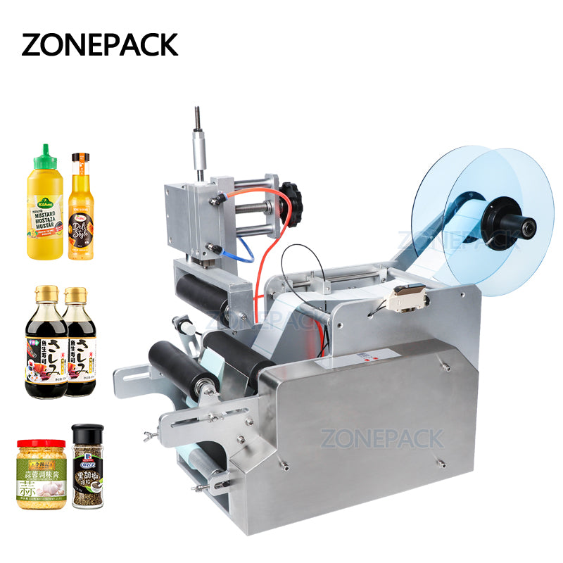 ZOENPACK TB-80 Desktop Pneumatic Small Semi Automatic Wine Round Bottle Applicator Labeling Sticker Printing Machines