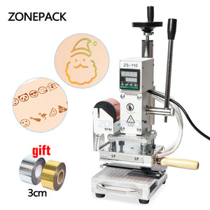 ZONEPACK Upgrade Version Hot Foil Stamping Machine For Customs logo Slideable Workbench Leather Embossing Bronzing Tool for Wood PVC DIY Initial
