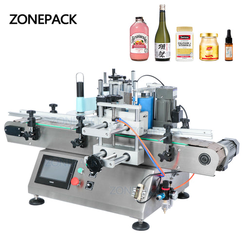 ZONEPACK TB-500 Sticker Disinfectant Liquid Soap Automatic Water Bottle Labeling Machines With Printer