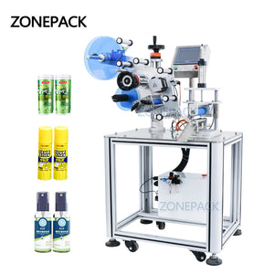 ZONEPACK ZS-TB801D Semi Automatic Round Bottle Tabletop Tube Labeling Applicator Machine Label Dispenser Machine Labeling Sticker