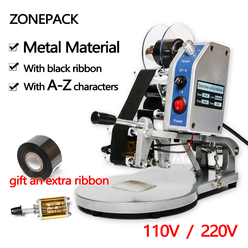 ZONEPACK DY-8 Date Printing Machine Hot Code Stamp Printer Semi Automatic Coding Machine 110V / 220V