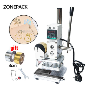 ZONEPACK ZS-90 Digital Embossing Machine, Hot Foil Stamping Machine,  For Pvc Leather Pu And Paper, Stamping With Paper Holder and Scale