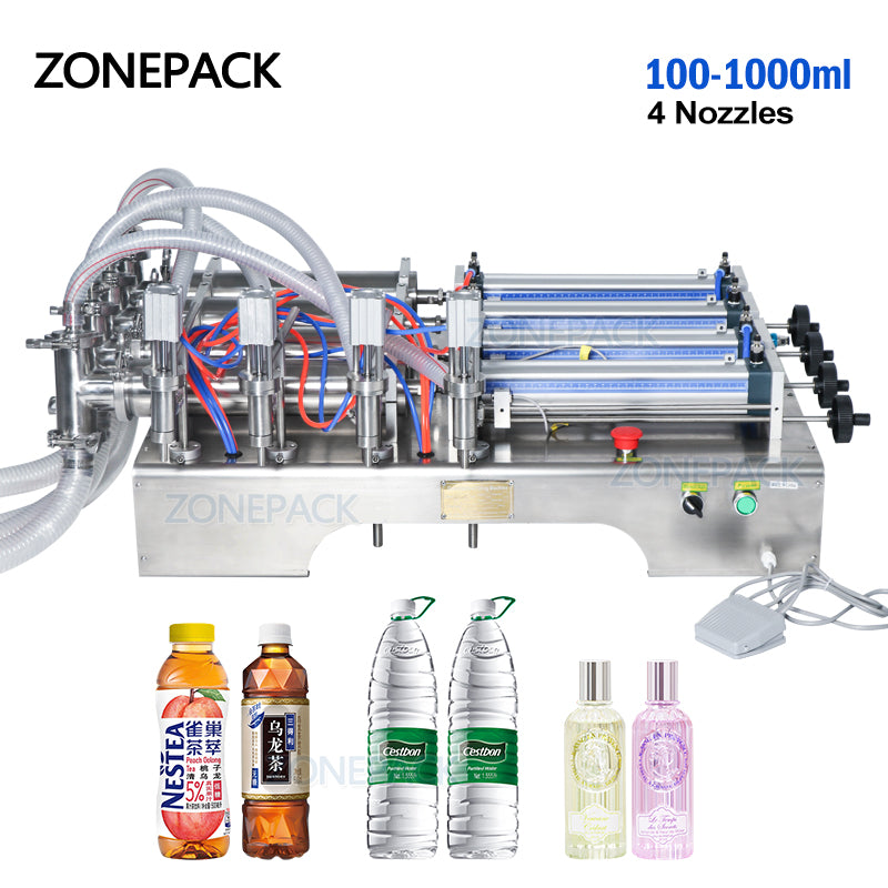 ZONEPACK 4 Heads Pneumatic Auto Filling Machine Horizontal Essential Oil water Perfume filler Food Beverage Machinery 4 Nozzles