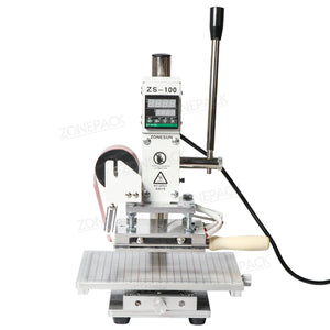 ZONEPACK ZS-100C Digital Hot Foil Stamping Machine Leather Embossing Heat Pressing Machine For Wood PVC Paper Custom Logo Stamp