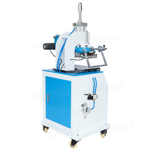 ZONEPACK ZY-819D Pneumatic Stamping Machine Leather Logo Creasing Machine Pressure Words Machine Logo Stampler Name Card Stamping