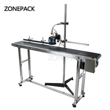 ZONEPACK Inkjet Printer Conveyer Conveying Table Band Carrier Sorting Workbench PVC Belt Conveyor Bottle Box Bag Sticker Conveyor