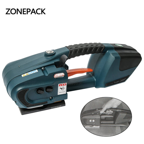 ZONEPACK JDC 13mm-16mm PET PP Plastic Strapping Machine Tools Battery Powered 4.0A/12V battery Strap Machine With 2 batteries