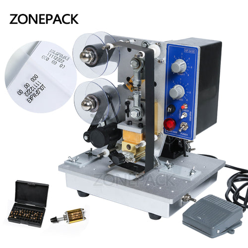 ZONEPACK Semi-automatic Electric Hot Stamp Ribbon Code Printer Ribbon Coder HP-241B Color Ribbon Hot Printing Machine,Heat ribbon printer