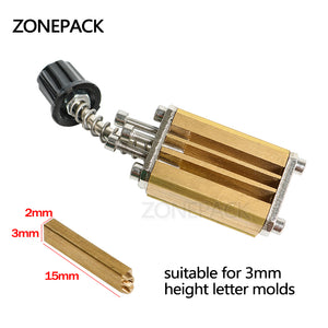 ZONEPACK Mould Holder of LT-50D Ribbon Printer Coding Device Heat Head of Stamping Printer Heat Block of Printer Letter Die Cave