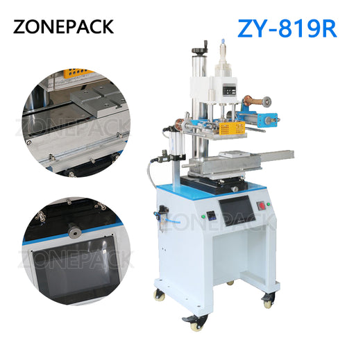 ZONEPACK ZY-819R 150*230mm Round Cosmetic Bottle Leather LOGO Paper Customized Hot Foil Stamping Machine Heat Press Machine