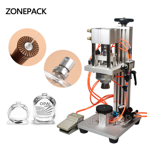 ZONEPACK Pneumatic Perfume Bottle Vial Crimping Machine Oral Spray Head Capping Machine Lid Cap Locking Metal Capper