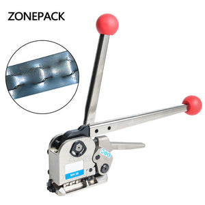 ZONEPACK Manual Buckle Free Steel Belt Strapping Machine Seamless Strapping Tool For width 16/19/25mm thickness 0.55-0.75mm
