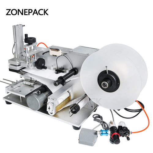 ZONEPACK LT-60 Semi Automatic Pneumatic Labeling Machine Drugs Bottle Labeling Machine Medicine Bottle Labeling Machine