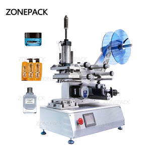 ZONEPACK Semi-automatic XL-T802 Model PET Plastic Tin Can Glass Water Milk Juicer Flat Bottle Labeling Machine
