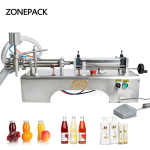 ZONEPACK Pneumatic Piston Liquid Filler Shampoo Gel Water Wine Milk Juice Vinegar Coffee Oil Drink Detergent Alcohol Hand Sanitizer Filling Machine