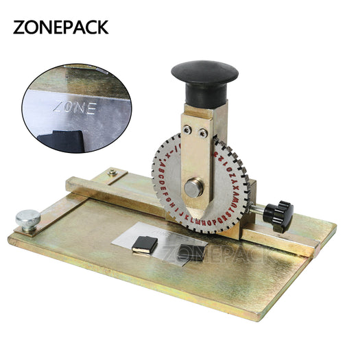 ZONEPACK Manual Metal Stamping Marking Machine Deboss Embossing Machine Dog Tag Metal Plate Stamping Embosser 6mm Letter Printing