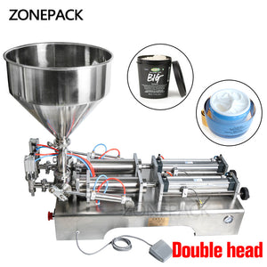 ZONEPACK Double Heads Filling Machine Automatic Pneumatic Hopper Cream Shampoo Moisturizer Lotion Cosmetic Oil Honey Food Paste Filling Machine