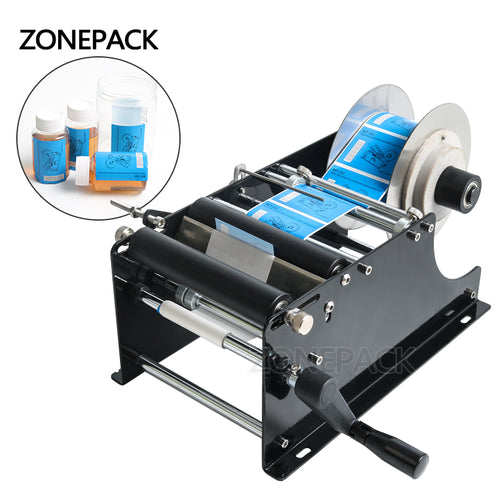 ZONEPACK MT-30 Simple Manual Handy Round Wine Bottle Adhesive Sticker Label Applicator For PET Plastic Bottle Packing Labeling Machine