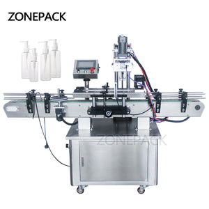 ZONEPACK Automatic Desktop Electric Plastic Glass Crystal Water Perfume Shampoo Cosmetic Nail Polish Bottle Capping Machine
