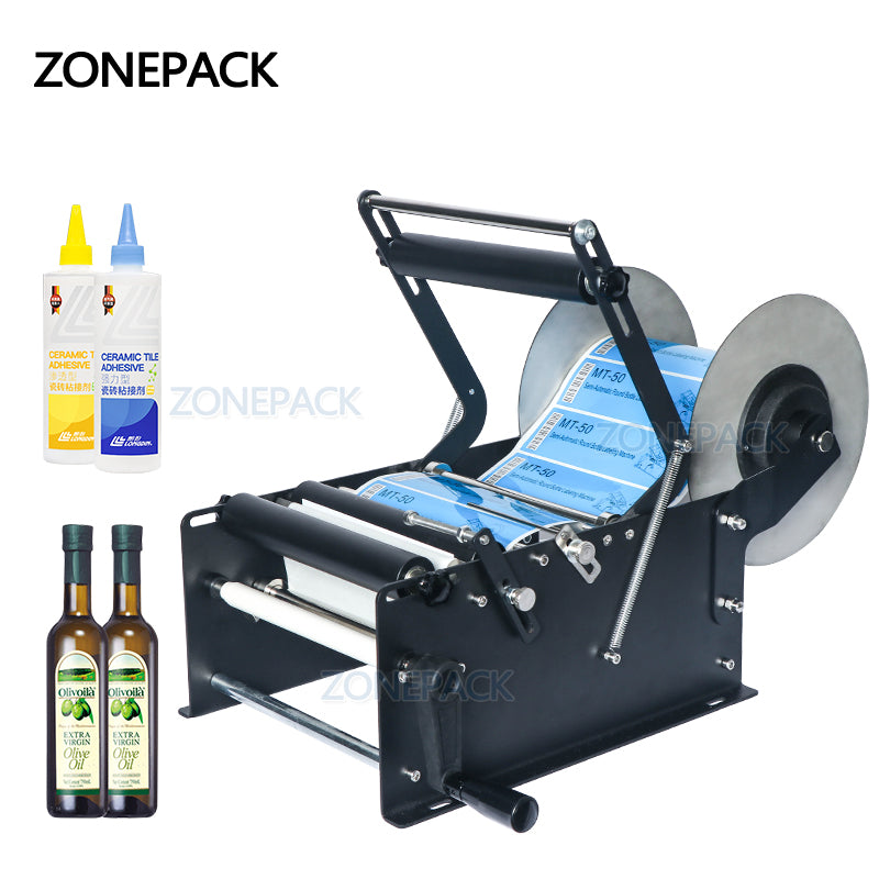 ZONEPACK ZP-50W Manual Round Labeling Machine With Handle Bottle Labeler Label Applicator for Round Glass Metal Plastic Bottle