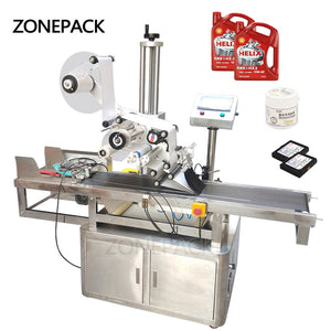 ZONEPACK Automatic High Speed Flat Square Bottle Bag Adhesive Tape Packing Labeling Machine