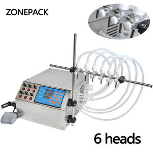 ZONEPACK Electric Digital Control Pump Liquid Filling Machine 3-4000ml for Liquid Perfume Water Juice Essential Oil with 6 Heads