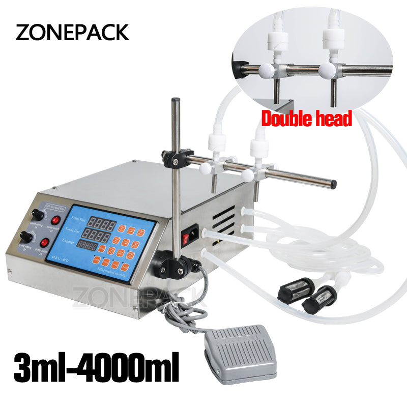 ZONEPACK Double Heads Filling Machine Pump Numerical Filler Digital Liquid Filler 3-4000ml For Drink Perfume Water Juice Essential Oil With 2 Nozzles