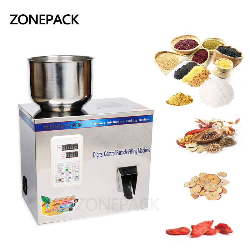 ZONEPACK Powder Filler Machine 2-100g Automatic Particle Weighing Filling Machine for Seed Bean Food Grade Stainless Steel Subpackage Device