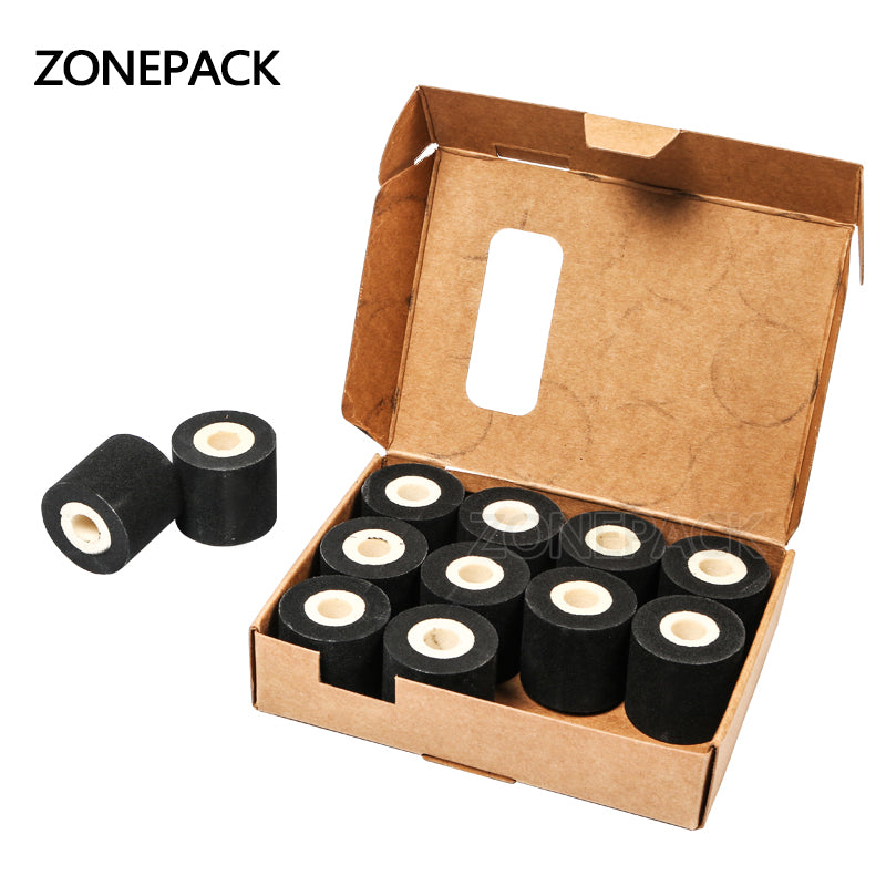 ZONEPACK Free Shipping Energy Saving Black Hot Printing Ink Roll for MY-380F, Good Quality Hot Ink Roll, Black Hot Print Rolls 12 Roll
