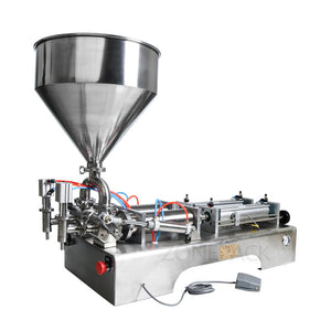 ZONEPACK 100-1000ml Double Heads Filling Machine Automatic Pneumatic Hopper Cream Shampoo Moisturizer Lotion Cosmetic Oil Honey Food Paste Filling Machine