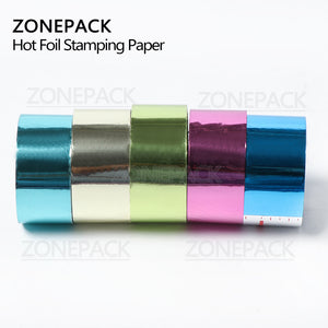 ZONEPACK Gold Silver Red Rose Hot Stamping Foil Paper Transparent Color width/Roll Customized Size DTY Brass Mold Foil 120m