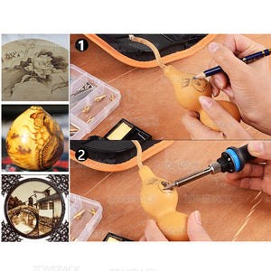 ZONEPACK Hot Foil Stamping Soldering Iron Carving Pyrography Tool Wood Embossing Burning Soldering Pen Set Welding Tips Kit