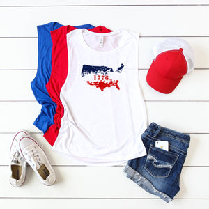 4th of July Graphic T_Shirt!-Distressed Nation 1776!