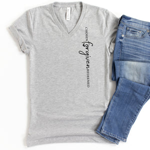 V-Neck: Chosen Forgiven Redeemed (Vertical)