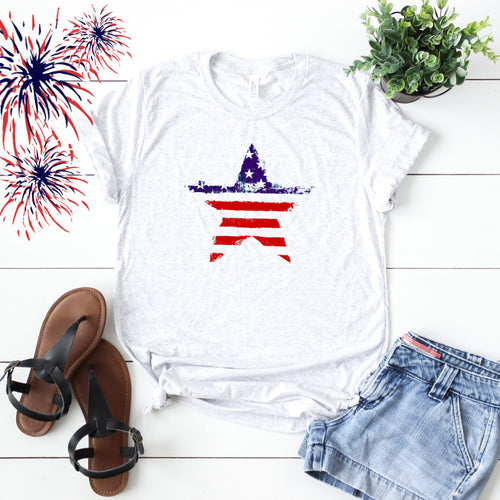 4th of July Graphic T_Shirt! Distressed Star!