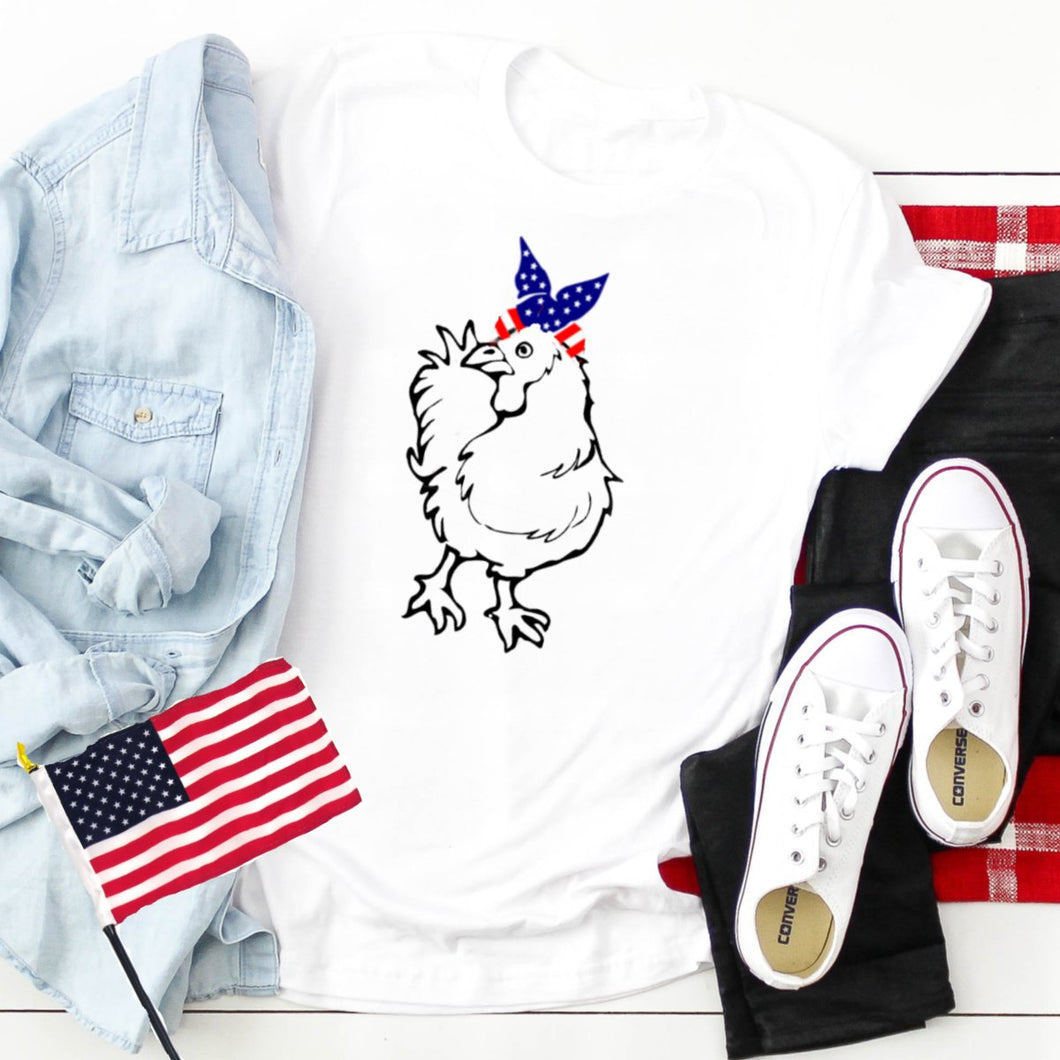 Chicken With Flag Bandana-Plus Sizes
