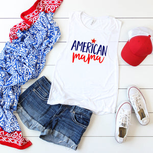 American Mama (Red & Blue)- Muscle Tank