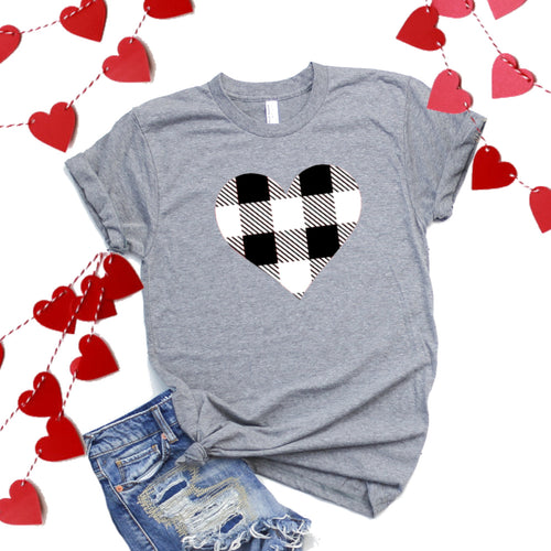 Black And White Plaid Heart-Plus Sizes