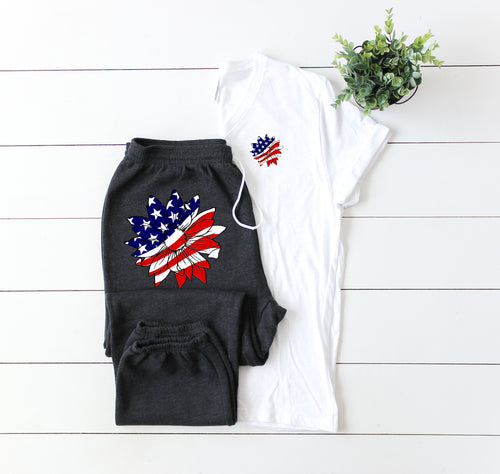 Patriotic Sunflower-Sweat Pants