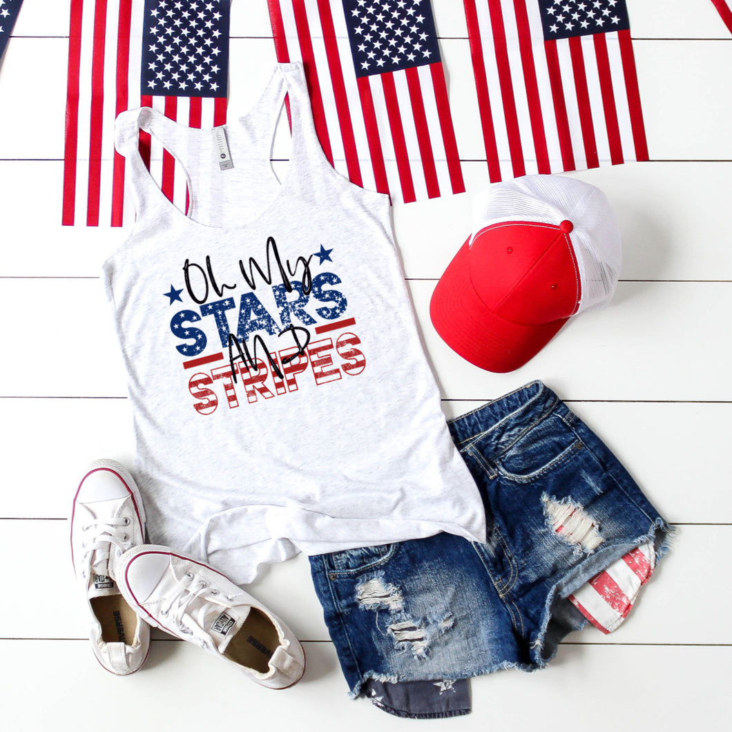 Oh My Stars and Stripes -Racer back Tank Top