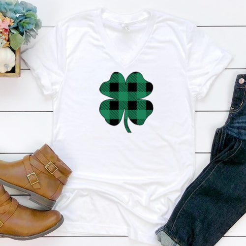 Green & Black Plaid Clover V-Neck