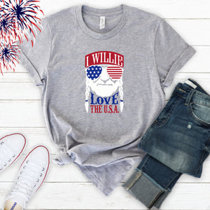 4th of July Graphic T_Shirt! Willie Loves the USA