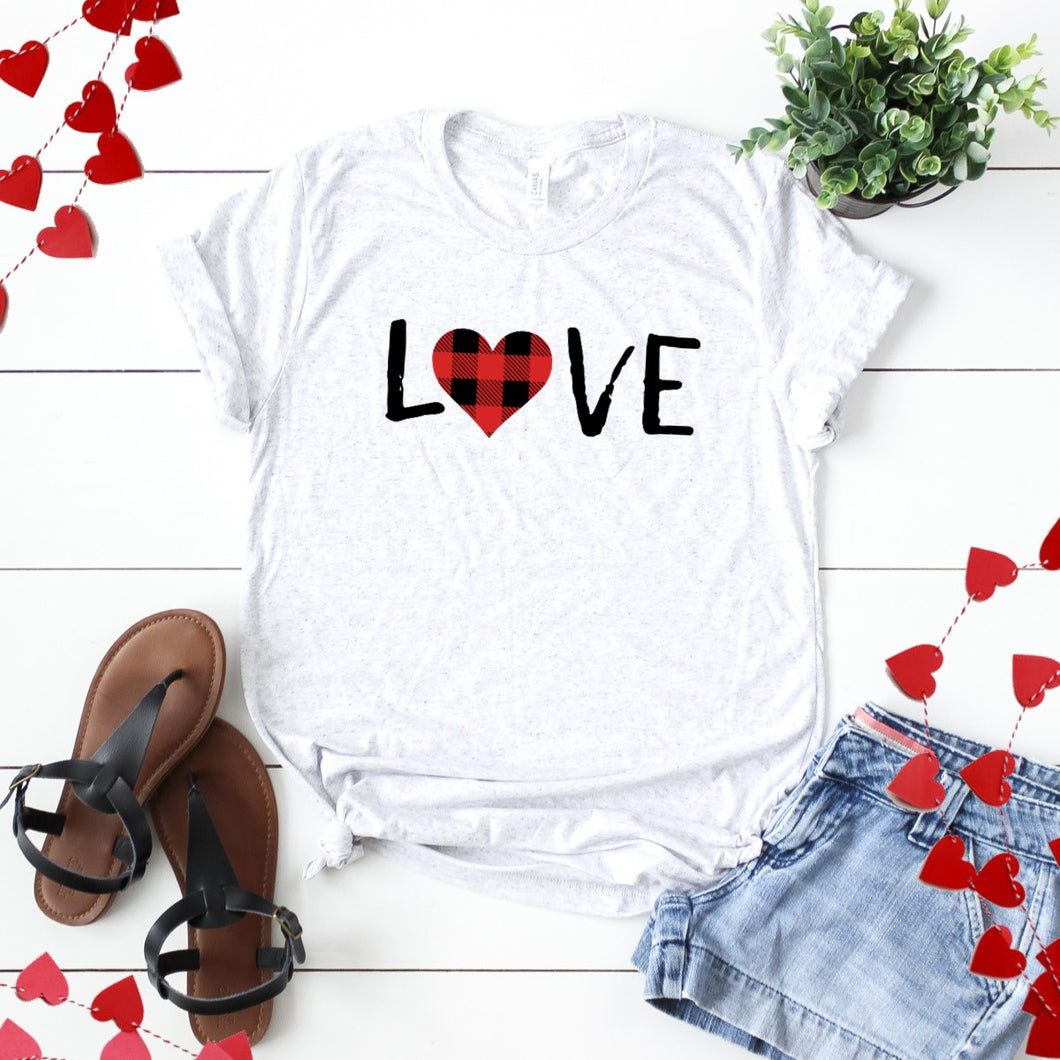 Love With Plaid Heart-Plus Sizes