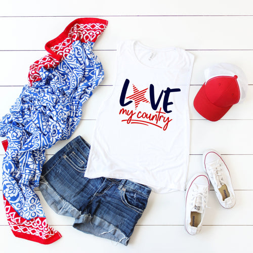 Love My Country (red & blue)- Muscle Tank
