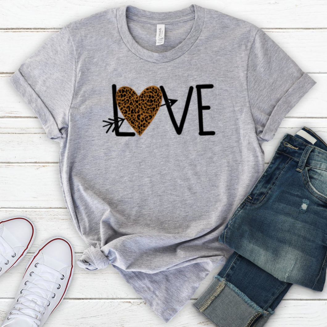 Love With Leopard Print Arrow Heart-Plus Sizes