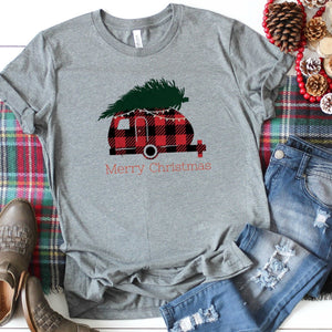 Plaid Merry Christmas Camper-Plus Sizes